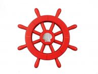 Red Decorative Ship Wheel With Seashell 12
