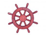 Rustic All Red Decorative Ship Wheel 12