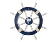 Rustic Dark Blue Decorative Ship Wheel with Palm Tree 18