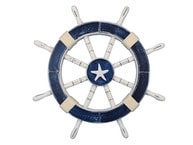 Rustic Dark Blue Decorative Ship Wheel with Starfish 18