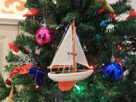 Orange Sailboat Christmas Tree Ornament 9