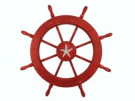 Wooden Rustic Red Decorative Ship Wheel With Starfish 30