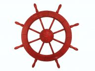 Wooden Rustic Red Decorative Ship Wheel 30