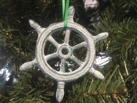 Dark Blue Whitewashed Cast Iron Ship Wheel Decorative Christmas Ornament 4