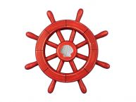 Rustic All Red Decorative Ship Wheel With Seashell 12